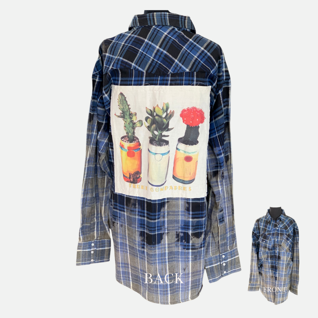 Three Compadres Patch Distressed Flannel (Main)