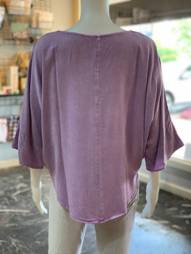 UMG 3/4 Mineral Washed Dolman Round Neck Top (Back)