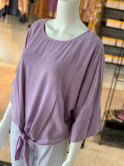 UMG 3/4 Mineral Washed Dolman Round Neck Top (Closeup)