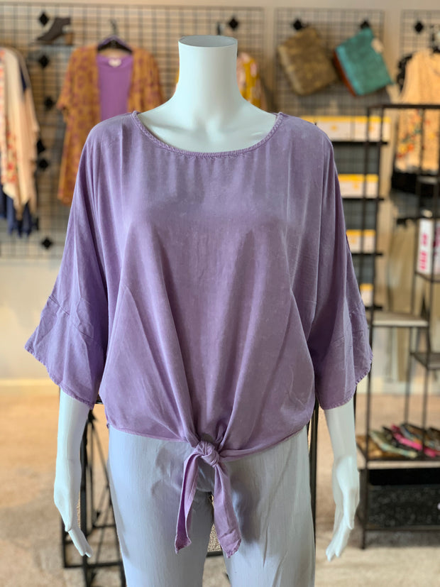 UMG 3/4 Mineral Washed Dolman Round Neck Top (Front)