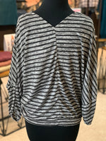 Load image into Gallery viewer, Striped V-Neck Surplice Top (Back)