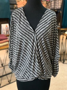 Striped V-Neck Surplice Top (Front)