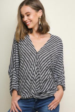 Load image into Gallery viewer, Striped V-Neck Surplice Top - Model (Front)