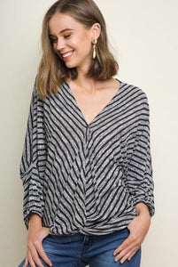Striped V-Neck Surplice Top - Model (Front)