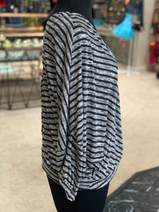 Striped V-Neck Surplice Top (Side)