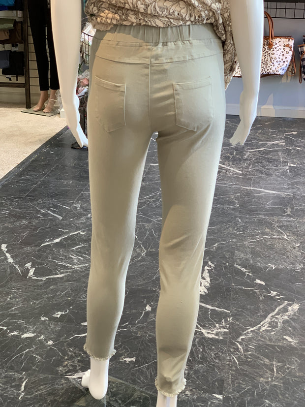 High Waist Knee Cut Jeggings (Back)