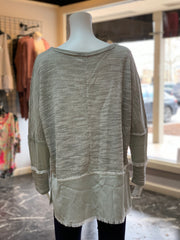 UMG LS Heathered Fray Side Slits Top (Back)