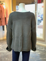 Load image into Gallery viewer, V-Neck Drawstring Cuff Sweater - CHARCOAL (Back)