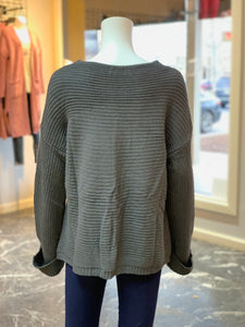 V-Neck Drawstring Cuff Sweater - CHARCOAL (Back)