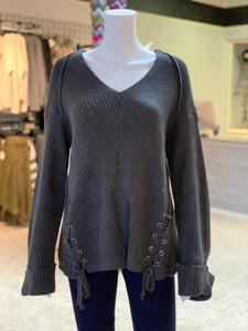 V-Neck Drawstring Cuff Sweater - CHARCOAL (Front)