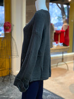 Load image into Gallery viewer, V-Neck Drawstring Cuff Sweater - CHARCOAL (Side)