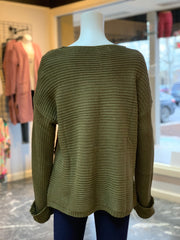 V-Neck Drawstring Cuff Sweater - OLIVE (Back)