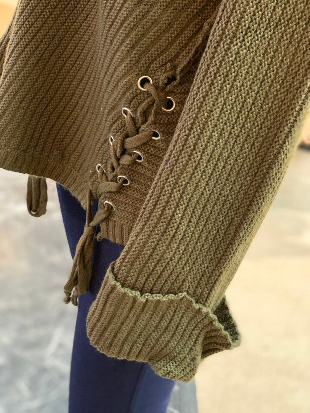 V-Neck Drawstring Cuff Sweater - OLIVE (Closeup)