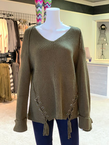 V-Neck Drawstring Cuff Sweater - OLIVE (Front)