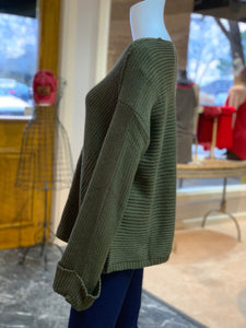 V-Neck Drawstring Cuff Sweater - OLIVE (Side)