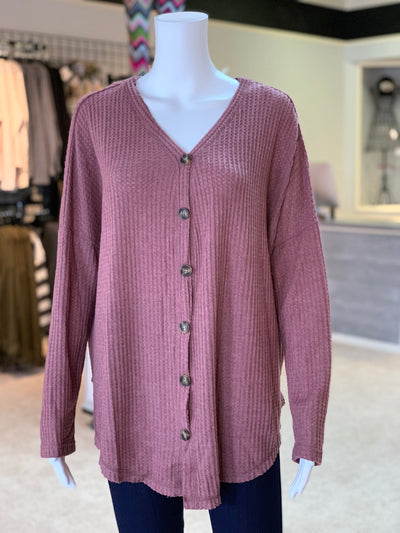 UMG LS Waffle Knit Button Cardigan - BERRY (Front)