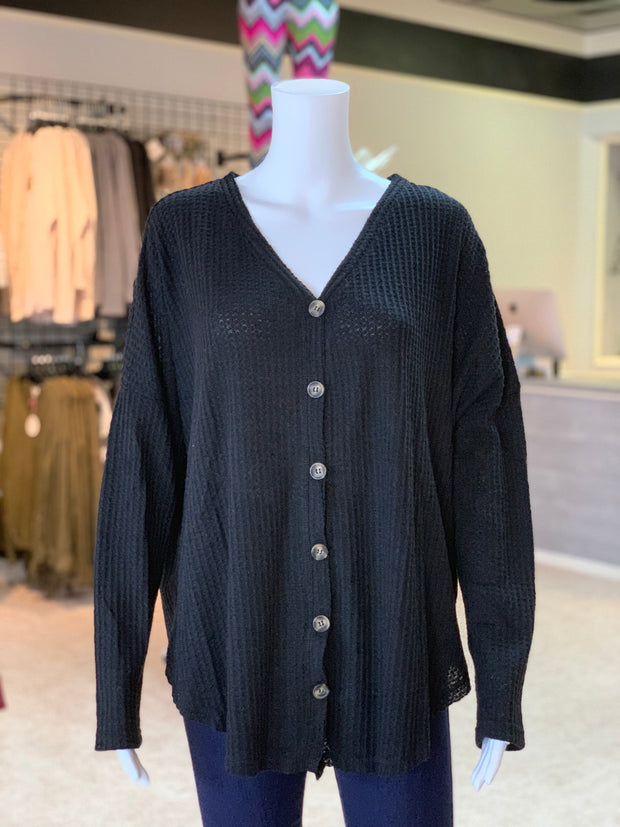 UMG LS Waffle Knit Button Cardigan - BLACK (Front)