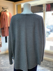 Waffle Knit Button Cardigan - CHARCOAL (Back)