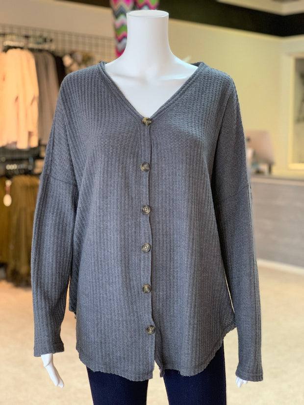 UMG LS Waffle Knit Button Cardigan - CHARCOAL (Front)