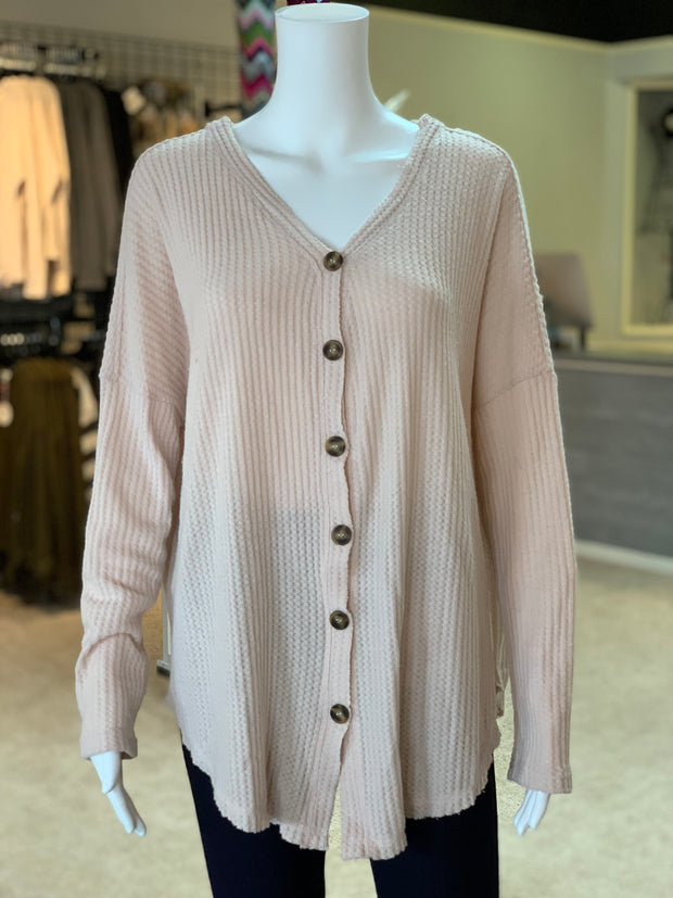 Waffle Knit Button Cardigan - NATURAL (Front)