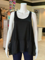 UMG Ruffled Up Ribbed Tank - BLACK (Front)