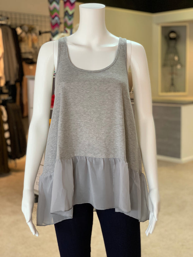 UMG Ruffled Up Ribbed Tank - HEATHER GREY (Front)