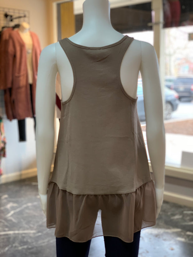 UMG Ruffled Up Ribbed Tank - MOCHA (Back)