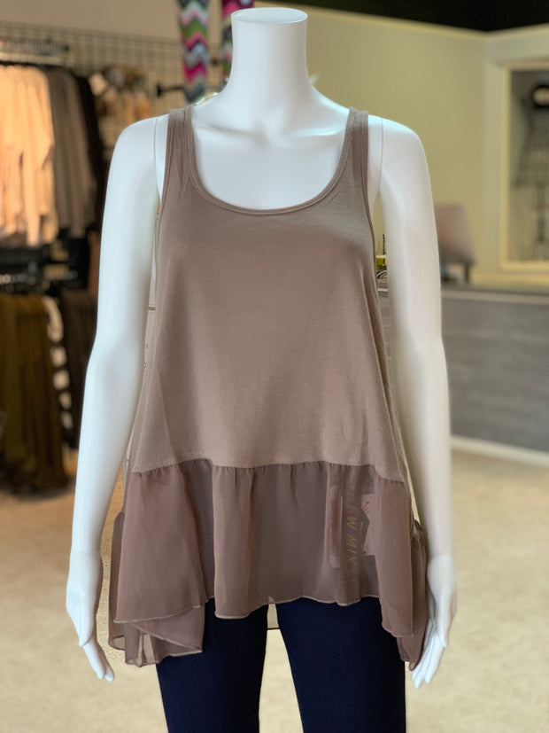 UMG Ruffled Up Ribbed Tank - MOCHA (Front)