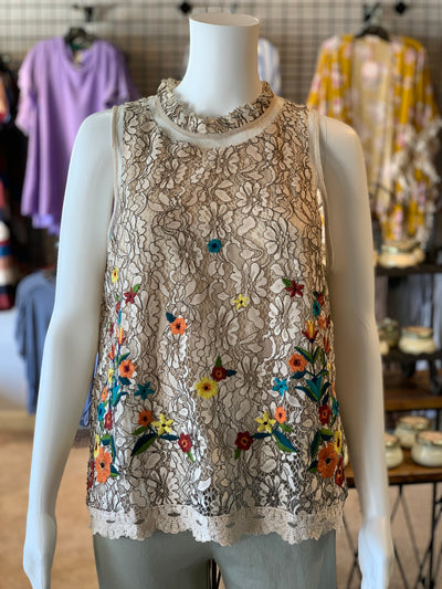 UMG SL Crochet Floral Embroidery High Neck Top (Front)