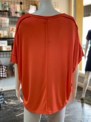 UMG SS Basic Knit Top - Coral (Back)