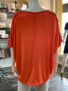 Basic Knit Top - Coral (Back)
