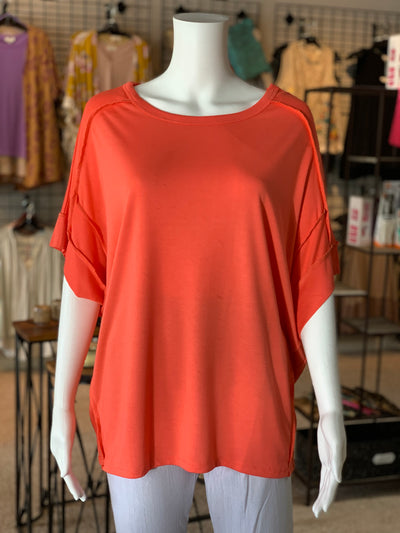 UMG SS Basic Knit Top - Coral (Front)