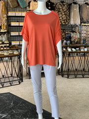 UMG SS Basic Knit Top - Coral (Outfit)