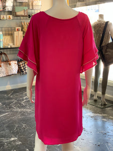 Layered Ruffle Crepe Dress - Fuchsia (Back)
