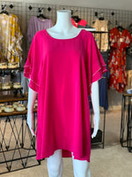 Load image into Gallery viewer, Layered Ruffle Crepe Dress - Fuchsia (Front)