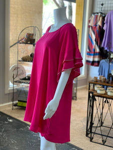 Layered Ruffle Crepe Dress - Fuchsia (Side)