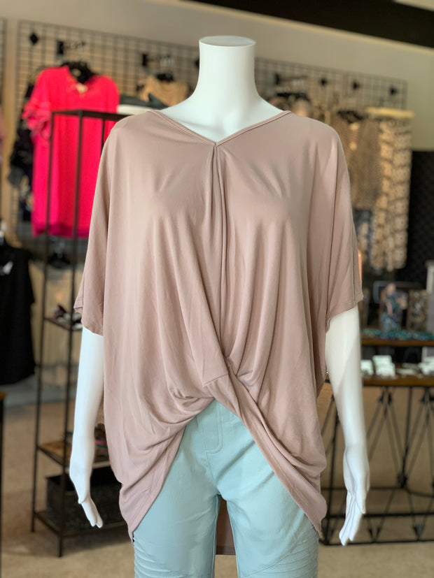 UMG SS Ribbed Cupro V-Neck Top (Front)