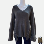 Load image into Gallery viewer, V-Neck Drawstring Cuff Sweater
