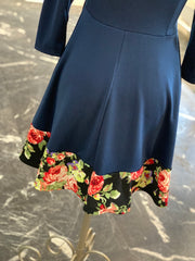 VM 3/4 Layered Floral Print Dress (Closeup)
