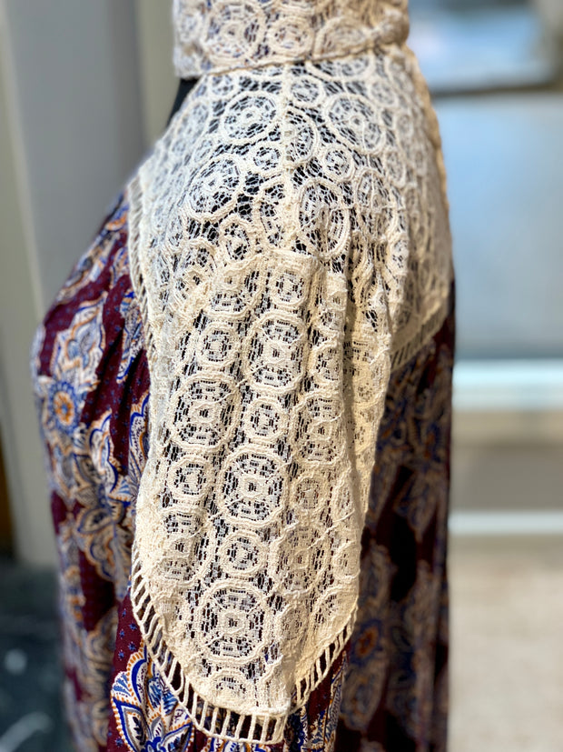 Lace Boho Print Dress (Side Closeup)