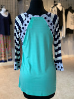 Load image into Gallery viewer, Polka Dot Stripe Raglan Top (Back)