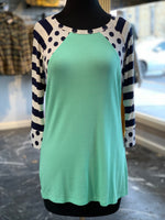 Load image into Gallery viewer, Polka Dot Stripe Raglan Top (Front)