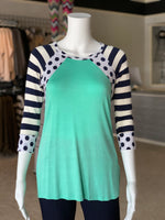 Load image into Gallery viewer, Polka Dot Stripe Raglan Top (Outfit)