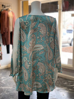 Load image into Gallery viewer, Ribbon Chiffon Paisley Top - Aqua (Back)
