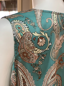 Ribbon Chiffon Paisley Top - Aqua (Closeup)