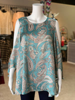 Load image into Gallery viewer, Ribbon Chiffon Paisley Top - Aqua (Front)