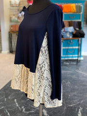 VM Solid Lace Contrast Top (Dress Form - Side)