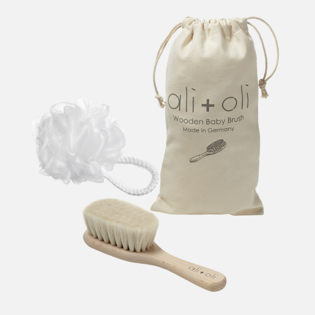 Wooden Baby Brush & Mini Baby Loofah (Main)