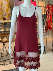 YAH Crochet Trip Slip Dress - Crimson (Front)