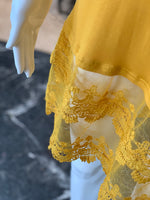 Load image into Gallery viewer, Crochet Trip Slip Dress - Mustard (Closeup)